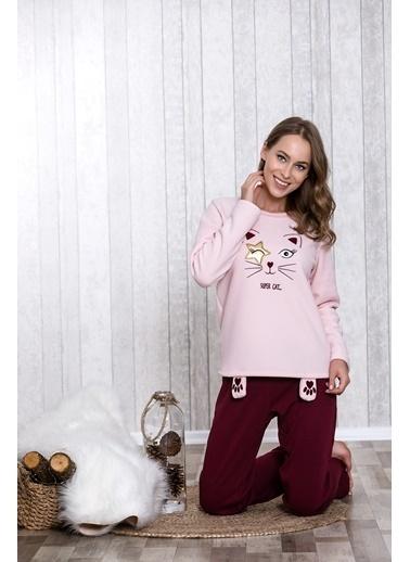 Lingabooms Somon Kedi Nakışlı Kadın 2'li Pijama Takım  Somon